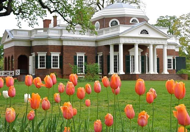 Tulipanes en los jardines de Monticello cerca de Charlottesville, VA - 10 Hermosos jardines en América