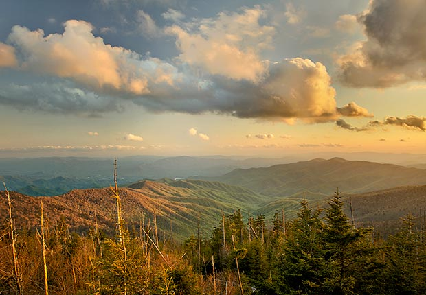 Atardecer desde la cúpula de Clingman. Great Smoky Mountains National Park - 10 lugares en Estados Unidos con vistas increíbles