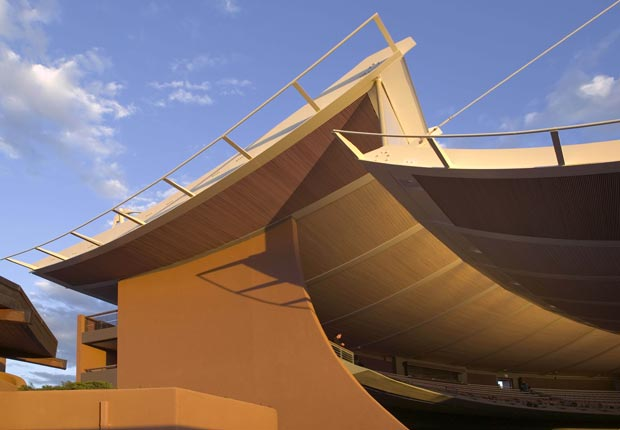 This undated image provided by the Santa Fe Opera shows the John Crosby Theatre at the opera in Santa Fe, N.M. The opera has announced two new commissions and an American premiere despite tough economic times throughout the arts community nationwide. (Robert Reck/AP Images)