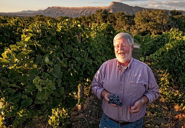 Parker Carlson, owner of Carlson Vineyards in Palisade, Colorado, stands in his vineyard which is located at an altitude of 4,700 feet in western Colorado's wine region, near Grand Junction.