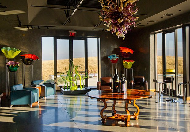 The tasting room of Long Shadows vineyards in Walla Walla, Washington is festooned with fantastical glass sculptures from artist Dale Chihuly.