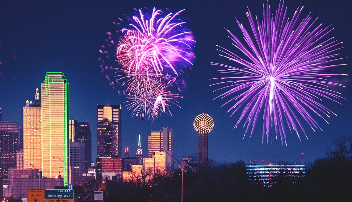 Dallas Skyline with Fireworks, Chinese Lunar New Year