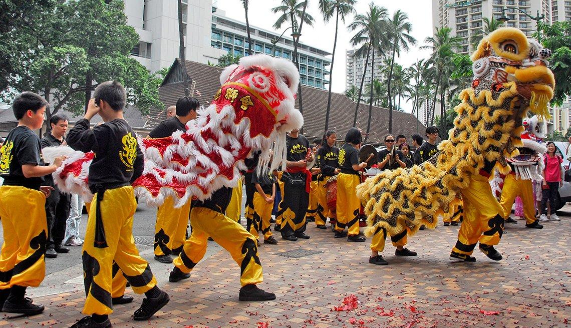 Chinese Lion Dance on Waikiki Beach in Honolulu, Hawaii, Chinese Lunar New Year