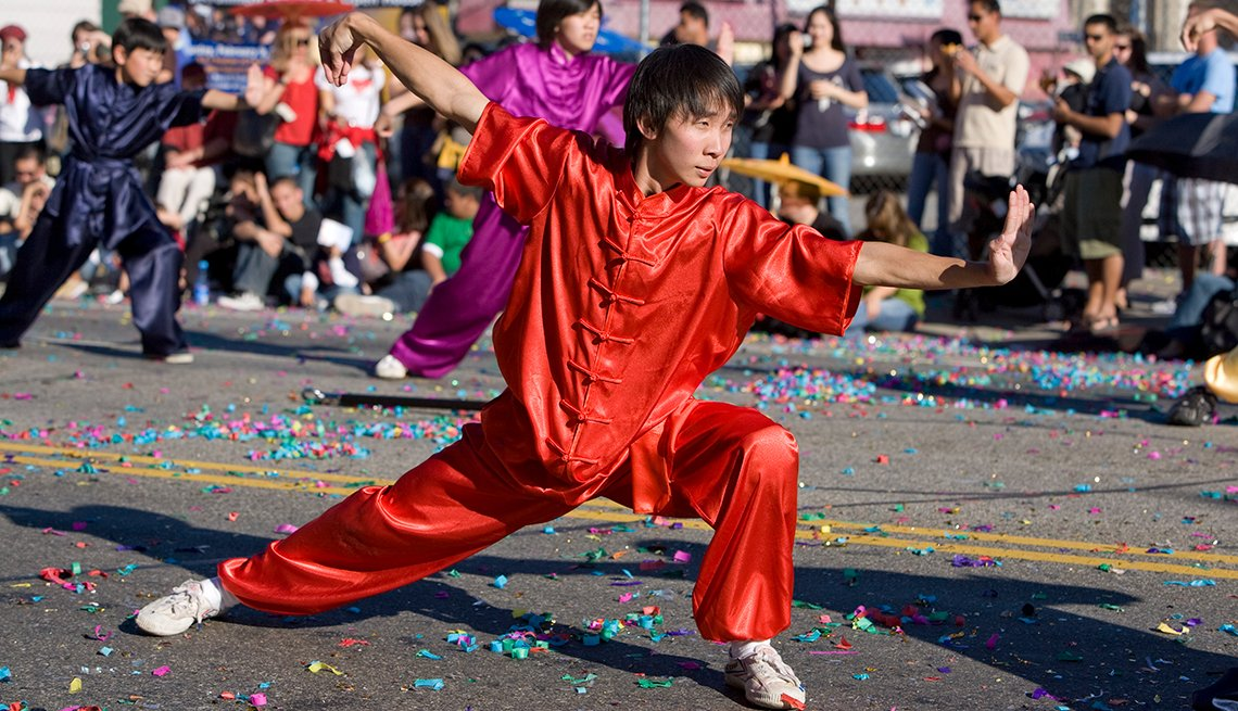 Kung-Fu Wu-Shu practitioners in the Los Angeles Chinese New Year parade, Chinese Lunar New Year