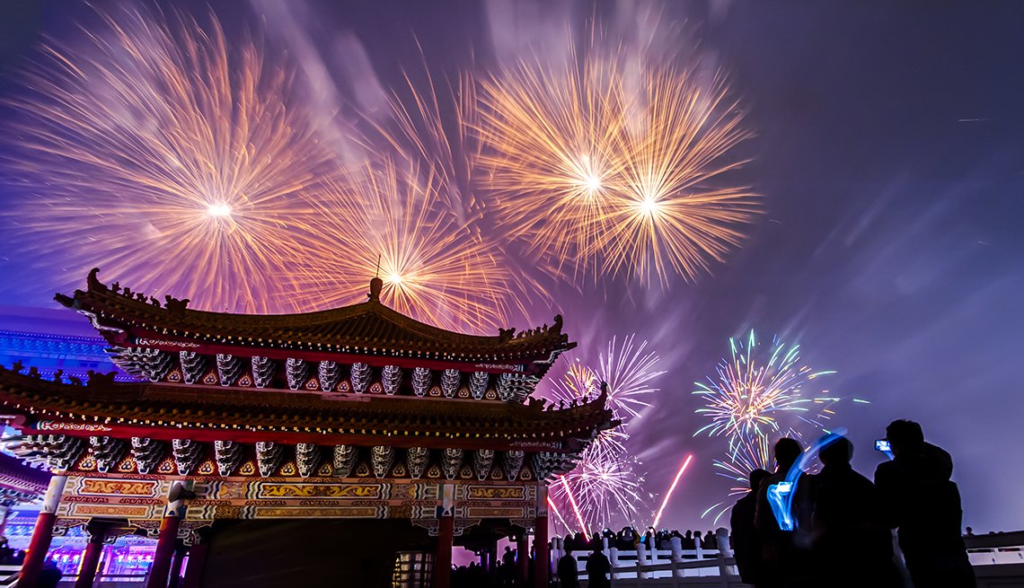 Fireworks over Pagoda, Chinese Lunar New Year