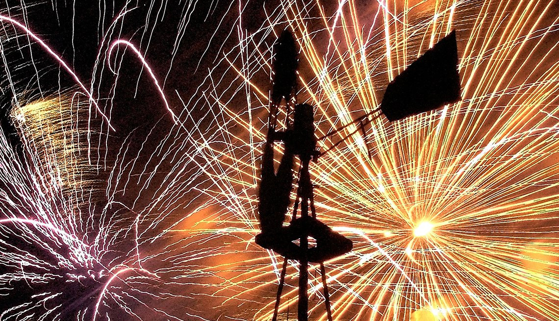 item 8 of Gallery image - Windmill in front of Fireworks during Kaboom Town festival in Addison, Texas, Best Fireworks Displays