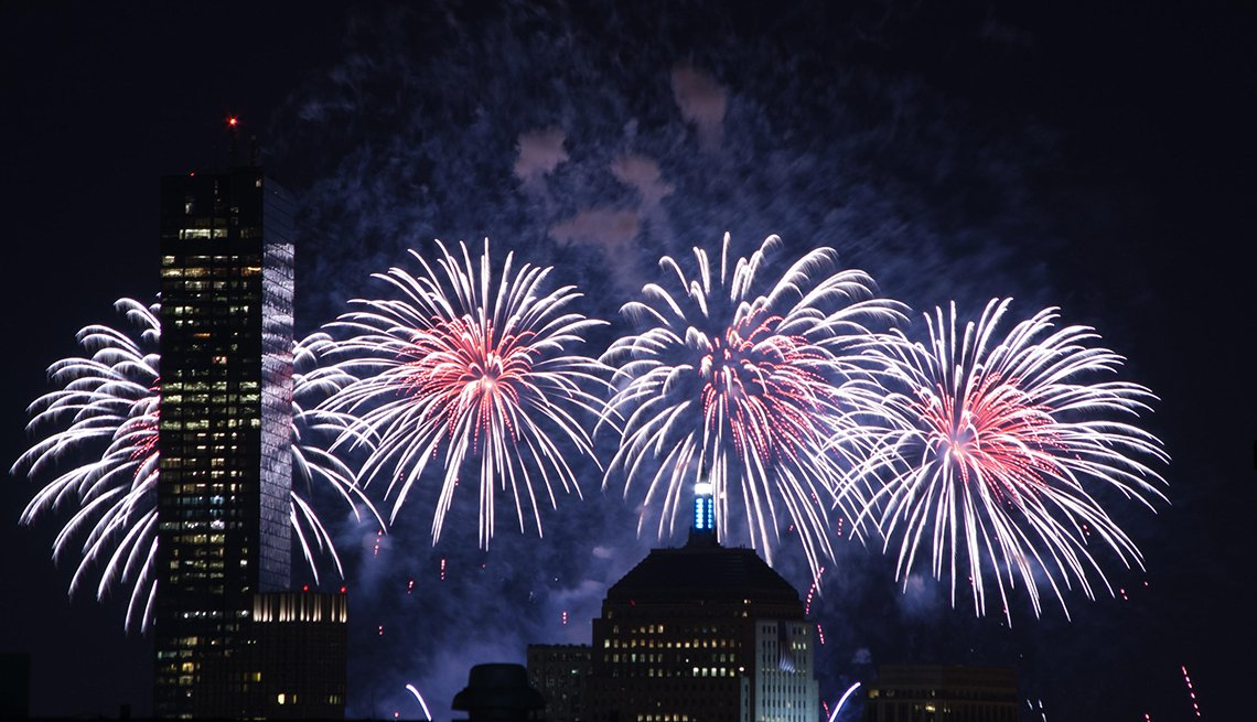 item 4 of Gallery image - Fireworks over Boston during Fourth of July celebrations, Best Fireworks Displays