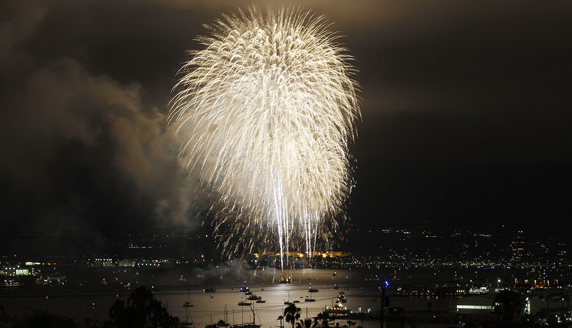 item 6 of Gallery image - Fireworks explode over San Diego Bay, San Diego, California, during Big Bay boom, Best Fireworks Displays
