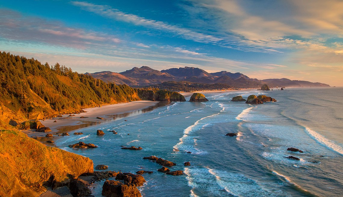 Sunset over the coastline near Cannon Beach, Oregon