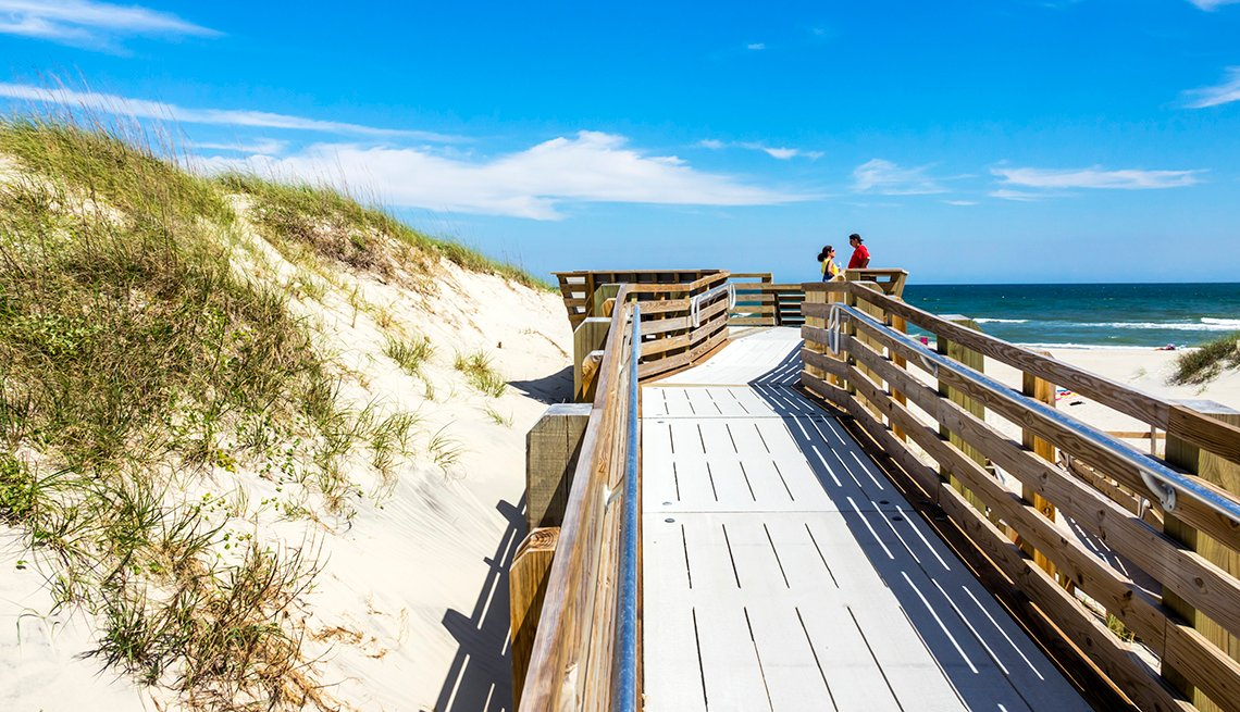 North Carolina, Cape Hatteras National Seashore, boardwalk to beach with sand dunes.