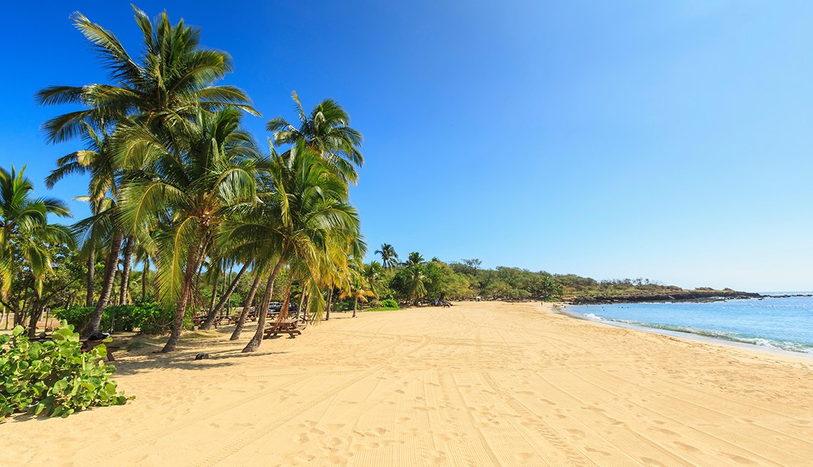 Golden beach and palm tree's at Hulopo'e Beach Park, Lanai Island, Hawaii