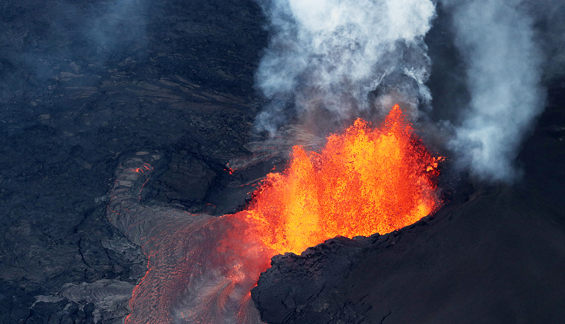 aerial view of Kilauea volcano