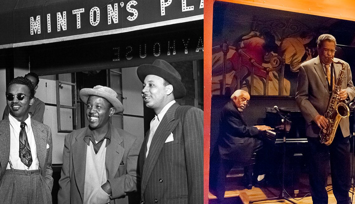 Personas en el bar de jazz Minton's Playhouse en Harlem, Nueva York.