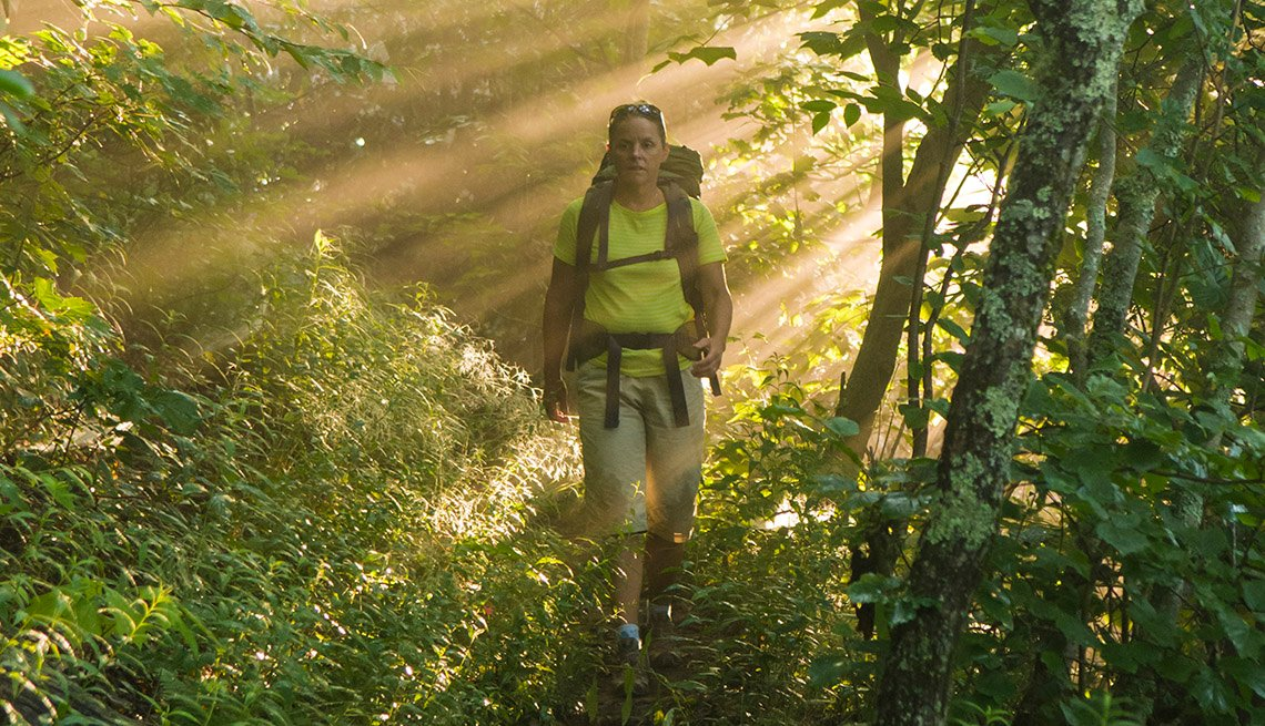 Female backpacking in Pisgah National Forest