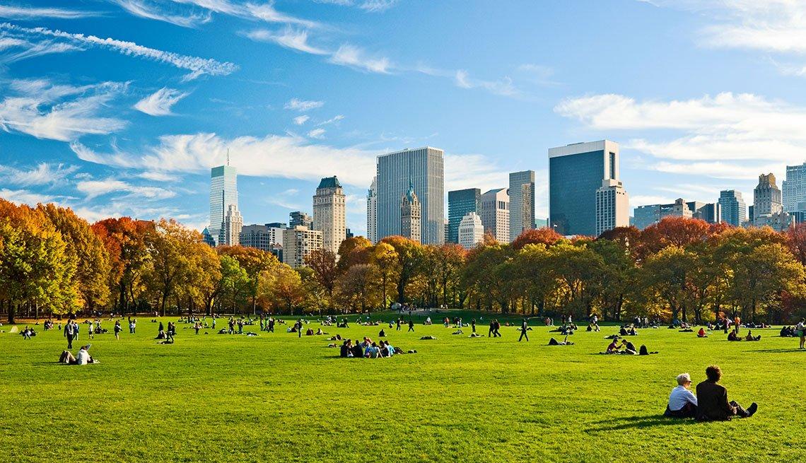 Personas en el Central Park, Nueva York.