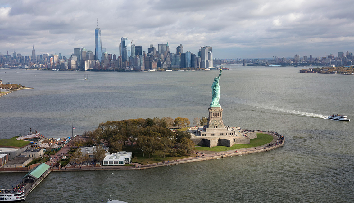 aerial view of The Statue of Liberty, New York City, USA