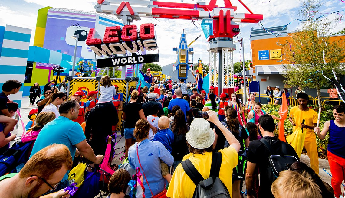 families celebrate at the official opening of Lego Movie World at LegoLand Orlando