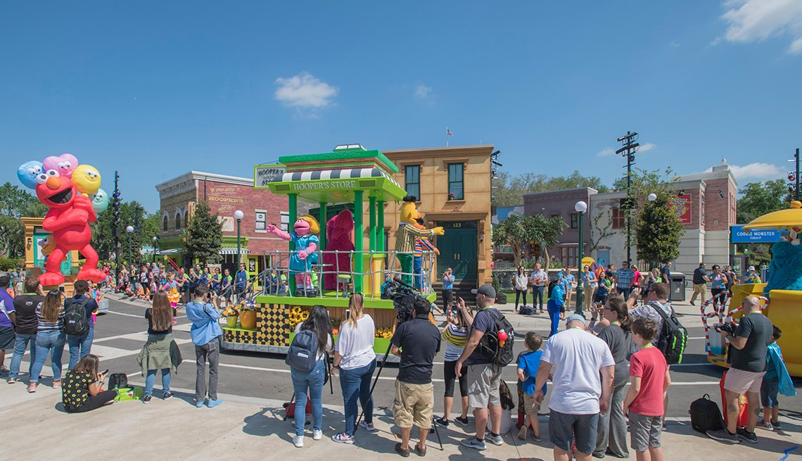 parade with muppets and floats at Sesame Street at SeaWorld Orlando