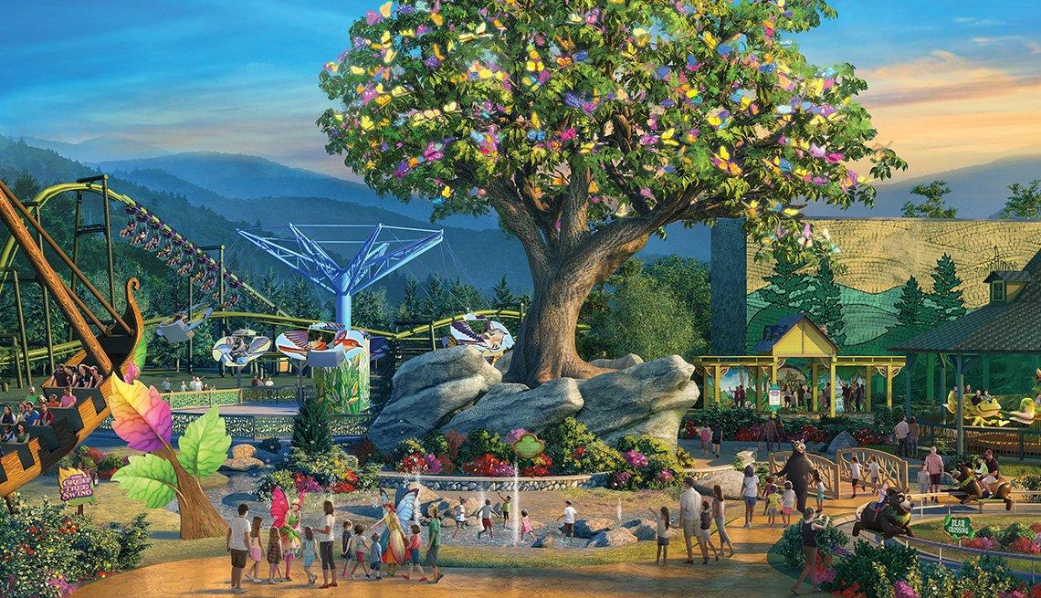 Ilustración que muestra un parque de diversiones