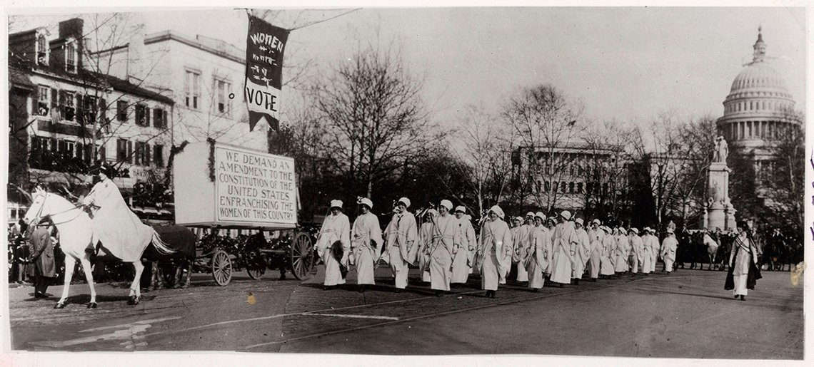 Women Marching in March 3, 1913 Suffragette Parade, Washington, DC