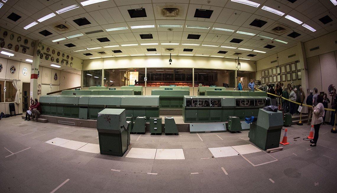 Reconstrucción del centro de control de la misión de 1969