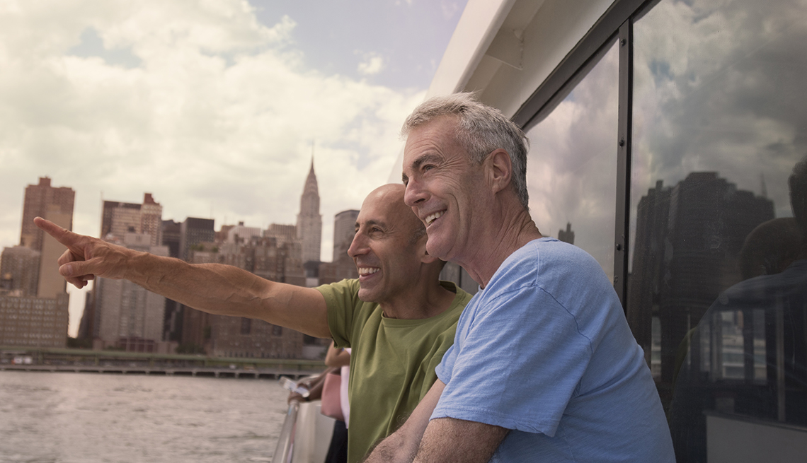 older gay male couple on a ship