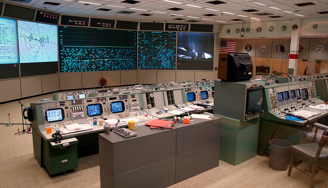 The newly restored Apollo Mission Control Room is shown at NASA's Johnson Space Center in Houston on June 28, 2019. - 50 years after handling the Apollo 11 mission, NASA's Apollo mission control center has been restaured to appear just as it did back then
