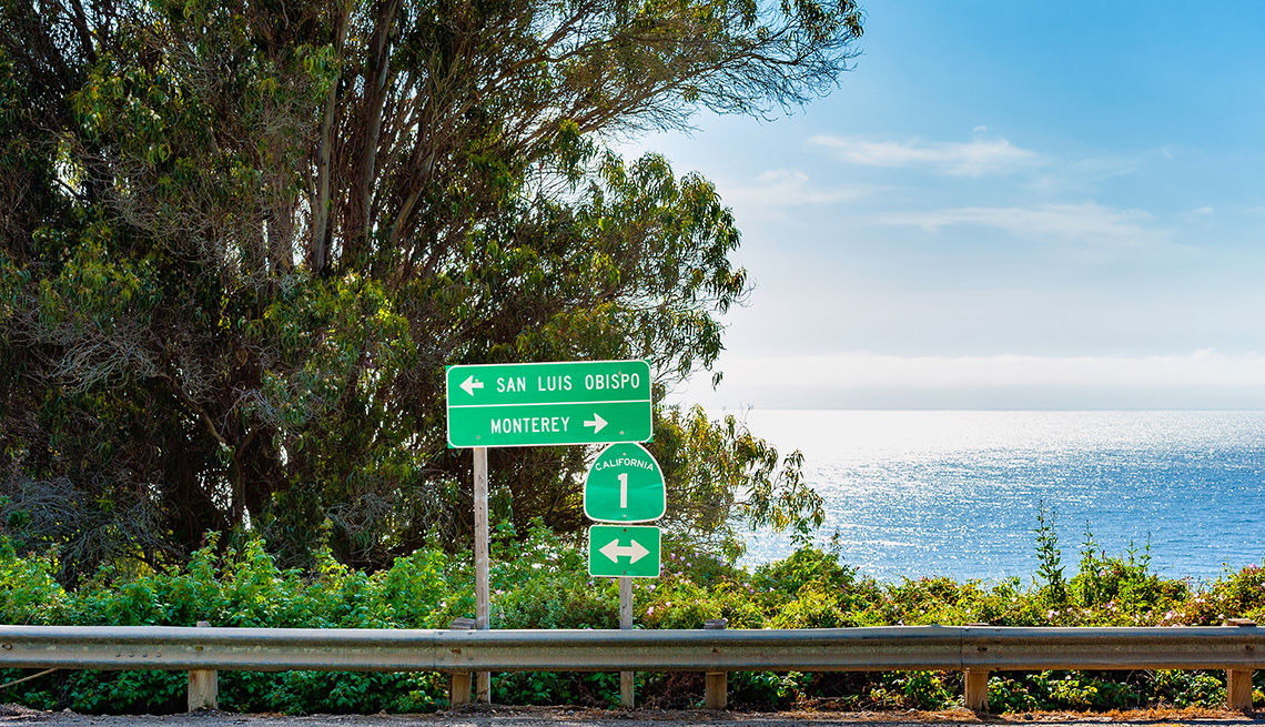 Directional Signs to San Luis Obispo and Monterey along Highway 1 in Big Sur, California