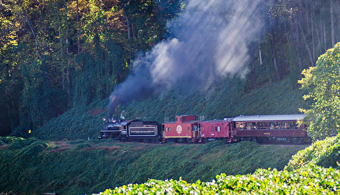 Train passenger car of Great Smoky Mountain Railroad
