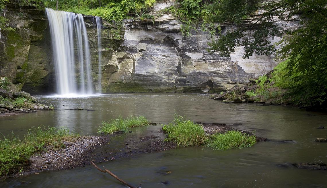 A waterfall at Minneopa Falls