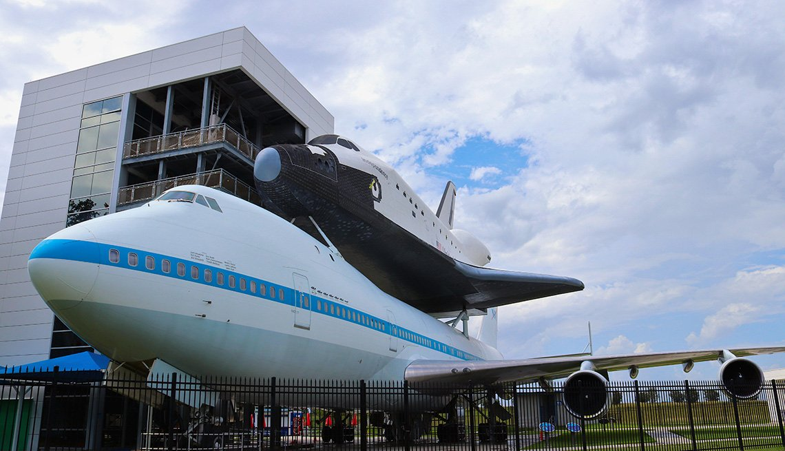 The NASA Space Shuttle Independence sits atop the NASA 905 Shuttle Carrier Aircraft at Space Center Houston, Texas