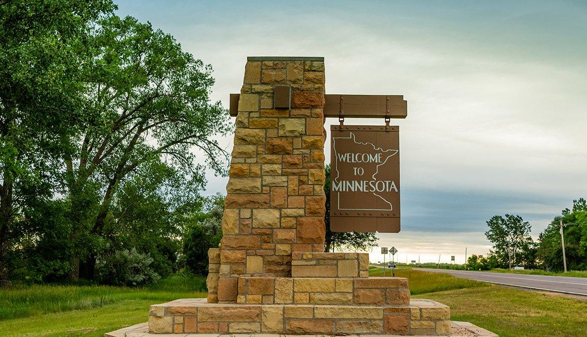 Letrero de bienvenida a Minnesota