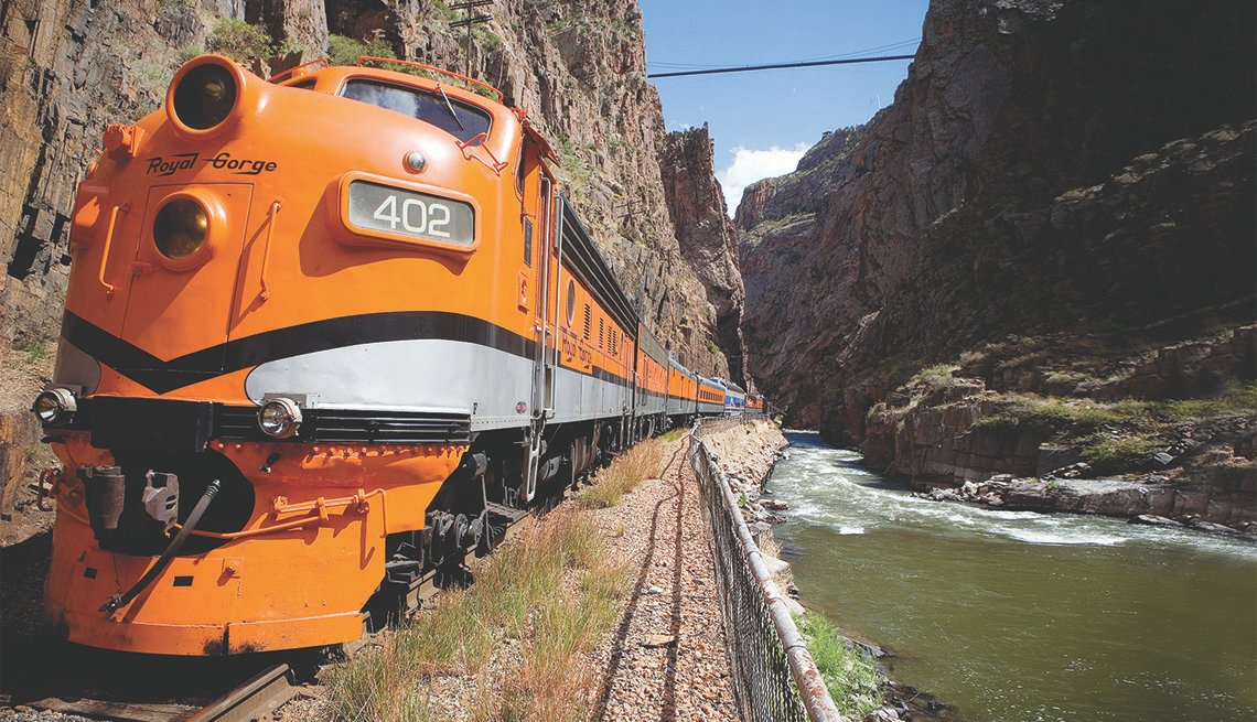 Royal Gorge Route Train traveling along tracks in Colorado
