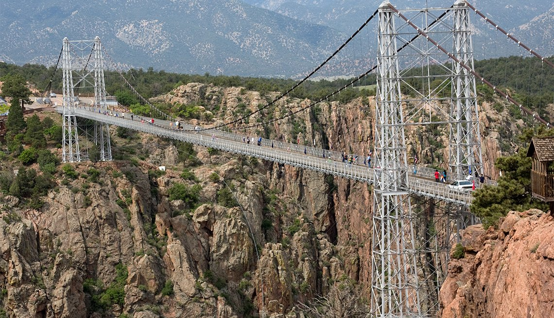 Royal Gorge Bridge suspension bridge dramatically spans a canyon in Colorado