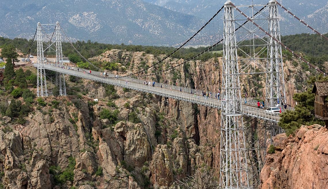 Royal Gorge Bridge suspension bridge dramatically spans a canyon in Colorado