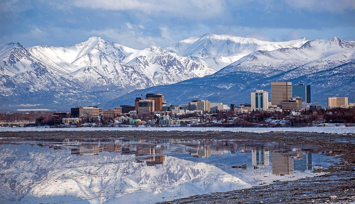 Perspectiva en el horizonte de la ciudad de Anchorage, Alaska