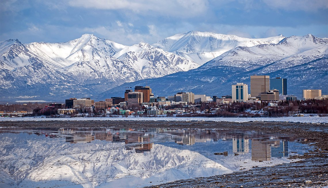 Anchorage, Alaska skyline with a winter reflection