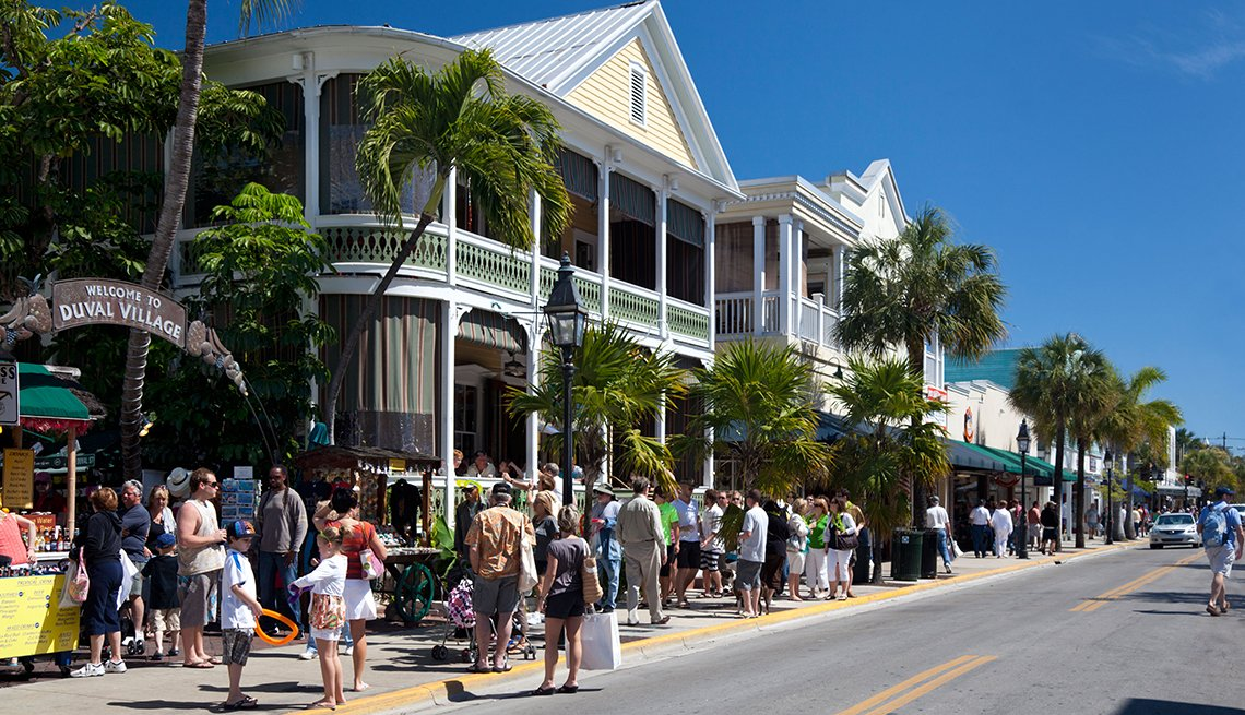 Duval Street in Key West Florida with people walking the streets