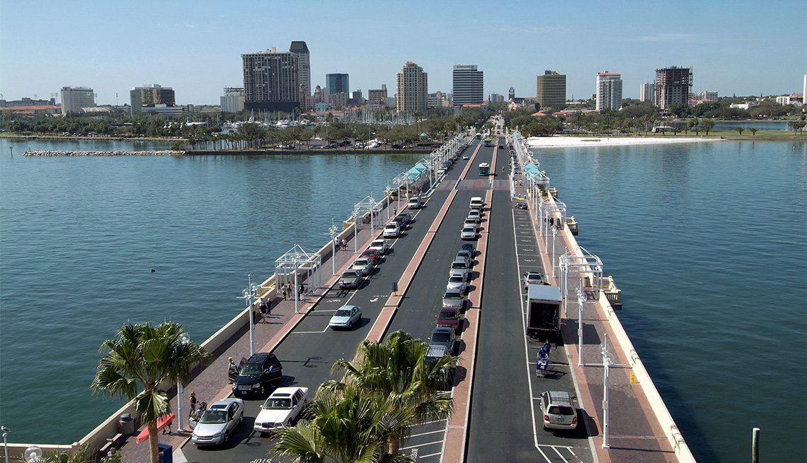 The Pier into the Gulf of Mexico is a popular attraction in downtown St Petersburg Florida