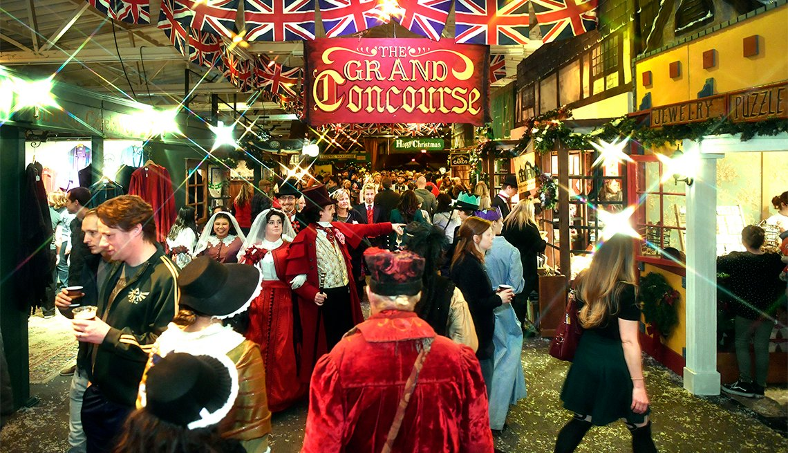Join in celebrations of the season in the Grand Concourse at The Great Dickens Christmas Fair & Victorian Holiday Party