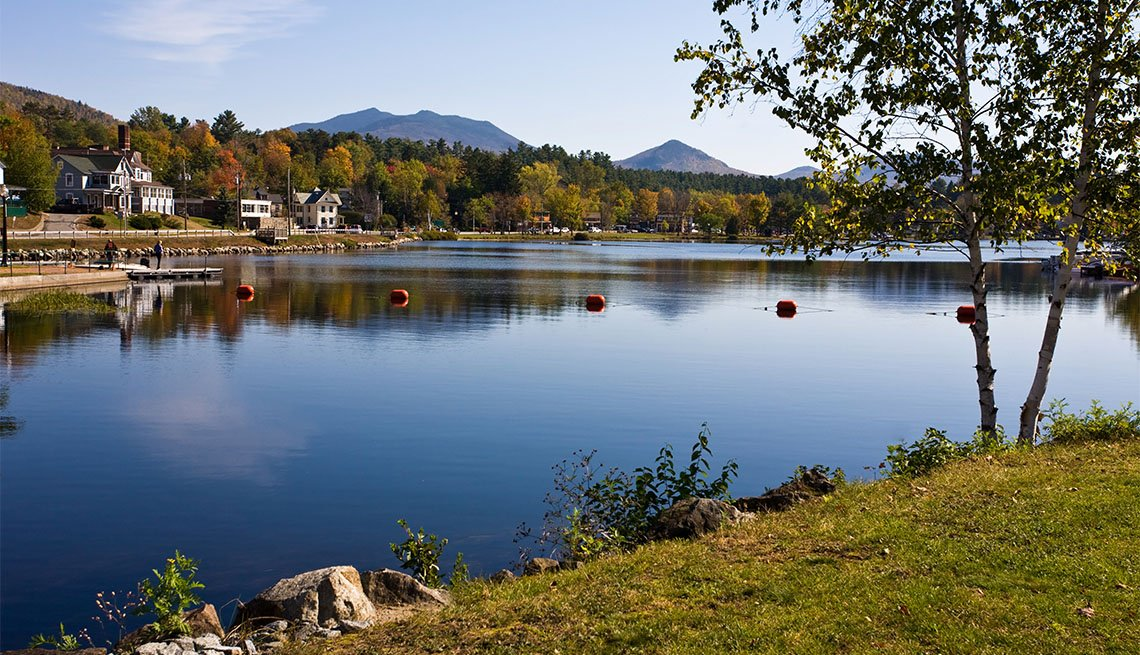 Lake Flower in the center of the town of Saranac Lake in New York