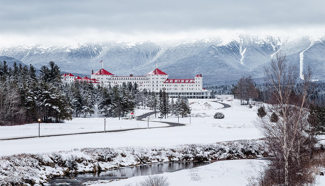Mount Washington Hotel covered in snow, Bretton Woods, New Hampshire
