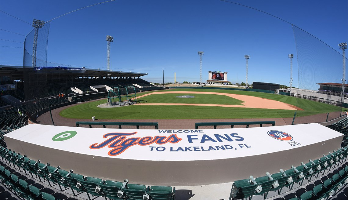 A general view of the field and home dugout of Publix Field at Joker Marchant Stadium, the Spring Training home of the Detroit Tigers, on February 10, 2017 in Lakeland, Florida