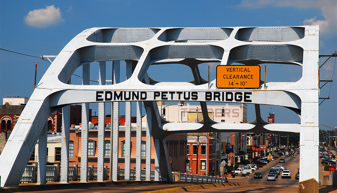 item 1 of Gallery image - The Edmund Pettus Bridge, in Selma, Alabama was the scene of violent clashes as Martin Luther King led a march from Selma to Montgomery
