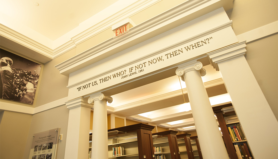 item 9 of Gallery image - View inside the Nashville Public Library's Civil Rights Room with wall text quoting civil rights activist and Congressman John Lewis' words 'If not us, then who? If not now, then when?