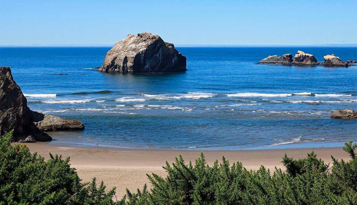 Face Rock viewed from above the beach in Face Rock State Park in Bandon Oregon on the southern Oregon coast
