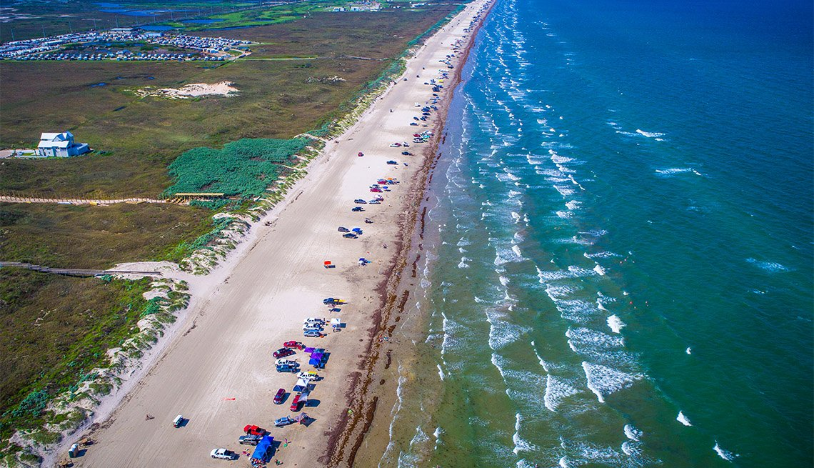 aerial view above Padre Island