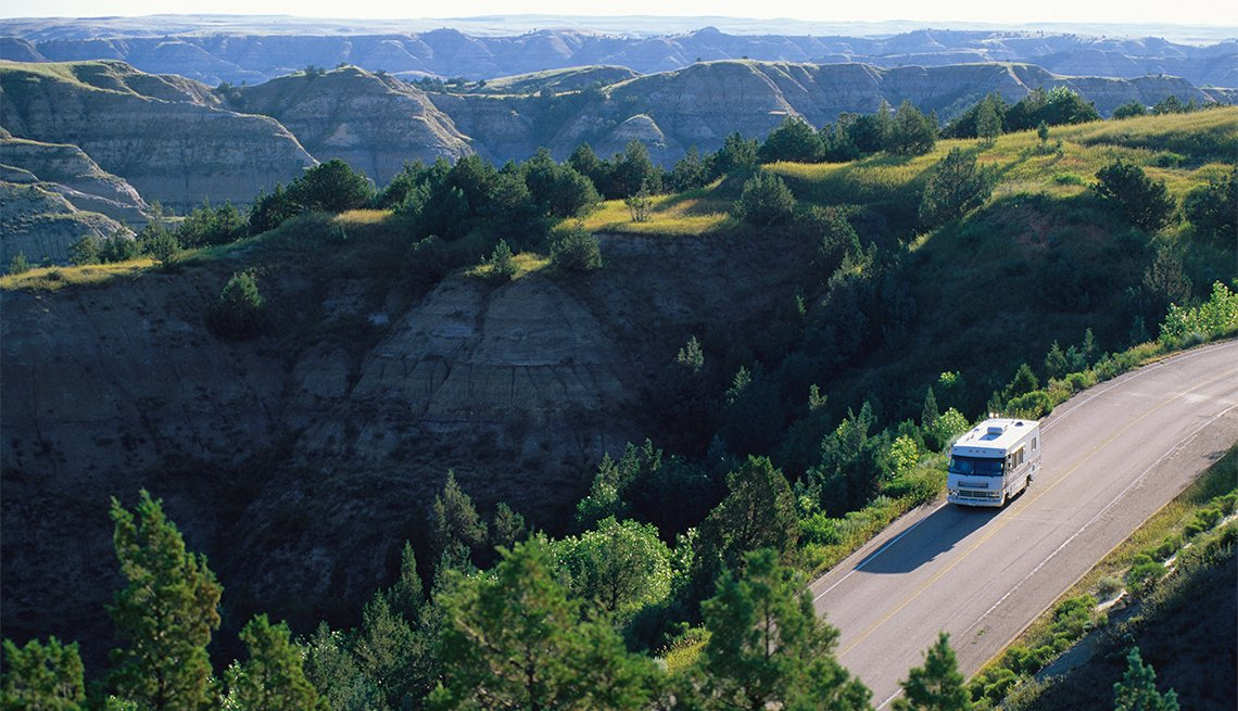 aerial view of an RV at Theodore Roosevelt National Park