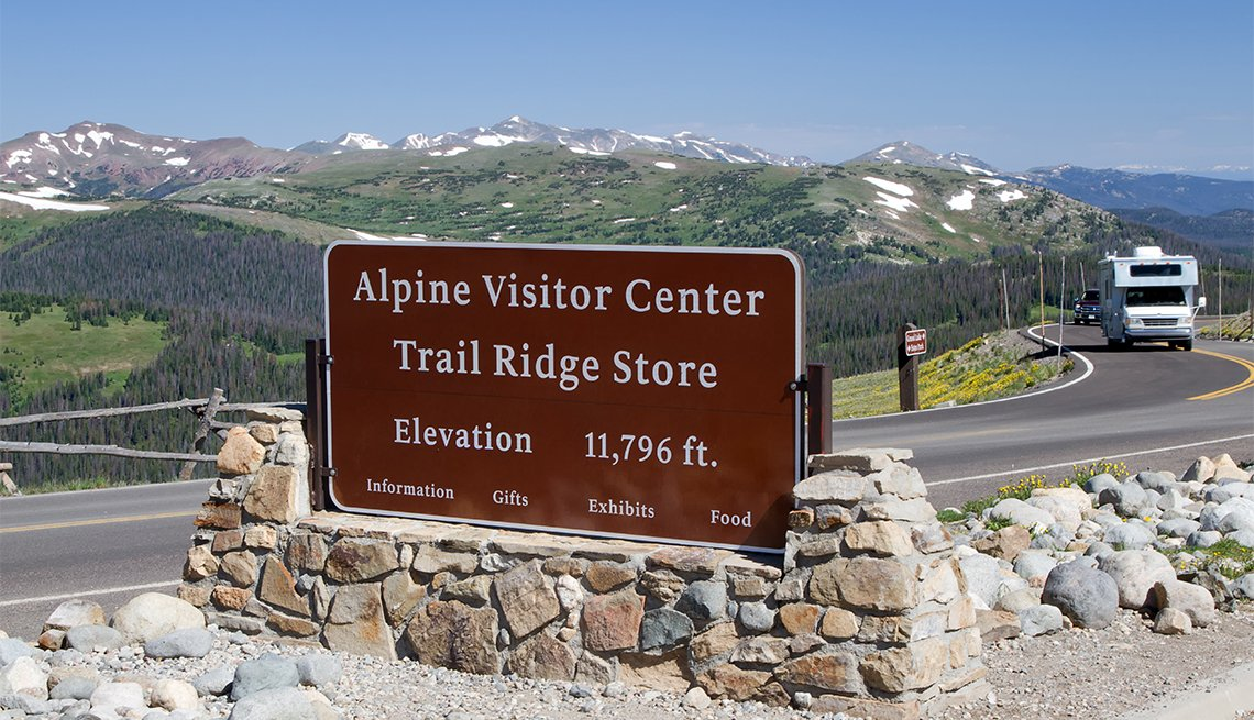 item 6, Gallery image. The Alpine Visitor Center sits at the top of Trail Ridge Road, offering spectacular mountain views.