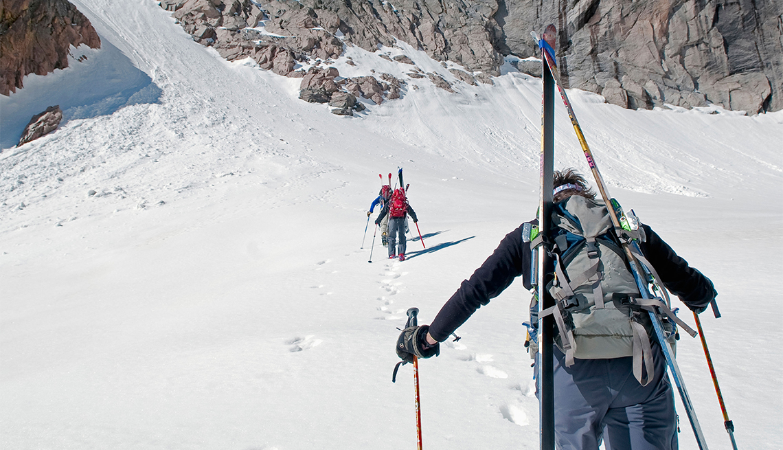 item 9, Gallery image. Snow is abundant well into spring in the Rocky Mountains, a haven for adventurous backcountry skiers.